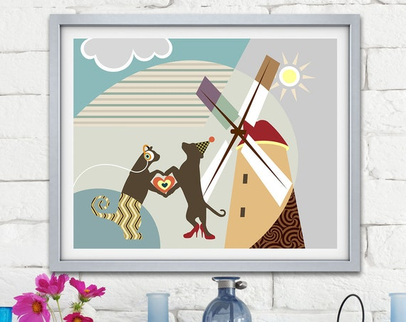 Cat and Dog Decor, Animal Pop Art Poster, Pet Lover Gift
