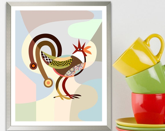 Rooster Kitchen Decor, Chicken Bird Art Print
