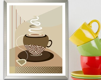 Tea Art Print, Dinning Room Decor Kitchen Poster, Tea Lovers Gift