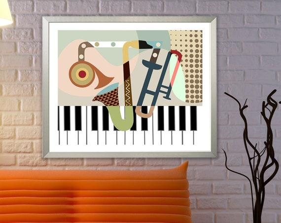 Saxophone Piano Trumpet Music Art Print Decor