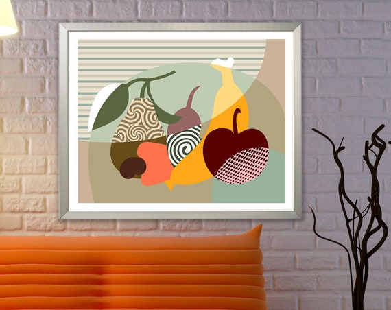 Kitchen Wall Art Fruit Painting, Pears Apple Banana Poster