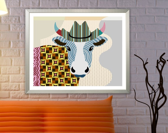 Cow Art Farm Animal Painting, Farmhouse Ranch Decor, Cattle Print