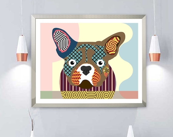 French Bulldog Pet Portrait, Puppy Decor Doggy Art Painting