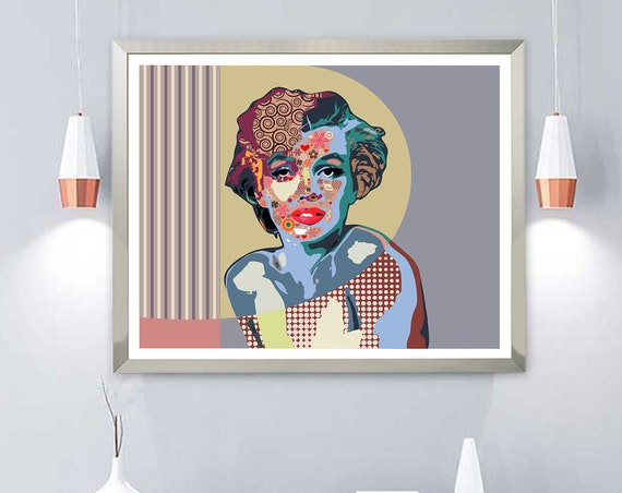 Marilyn Monroe Pop Art Decor, Celebrity Portrait Poster