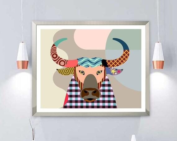 Buffalo Print Bison Head, Animal Portrait Wildlife Art