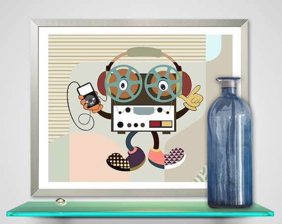 Reel to Reel Retro Music Print, Funny Painting