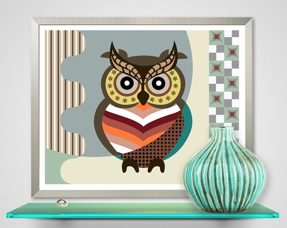 Owl Wall Decor Art Print, Bird Animal Painting
