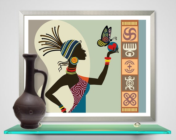 African Woman Art, Afro Queen Home Decor