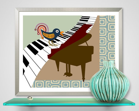Nightingale Bird Abstract Music Painting Art