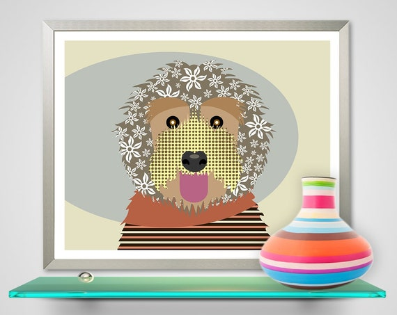 Labradoodle Art Print, Dog Pet Portrait
