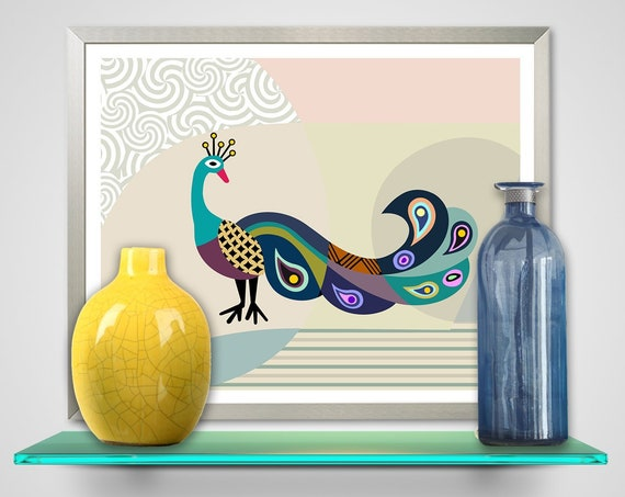 Peacock Art Work Wall Decor, Bird Painting