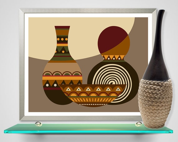 African Calabash Gourds, Afrocentric Decor Ethnic African