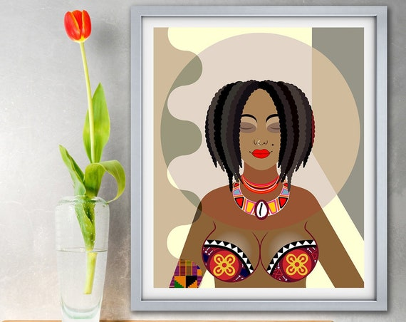 Black Girl Art Print Nubian Queen, African Women Painting Poster Decor