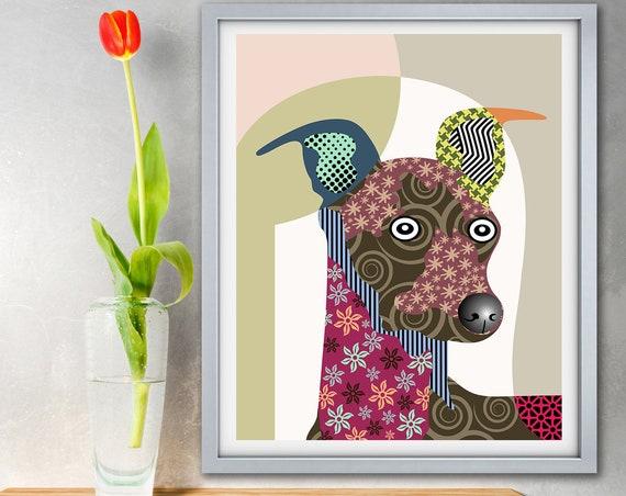 Greyhound Art Dog Lover Gift, Pet Portrait Puppy Poster Print