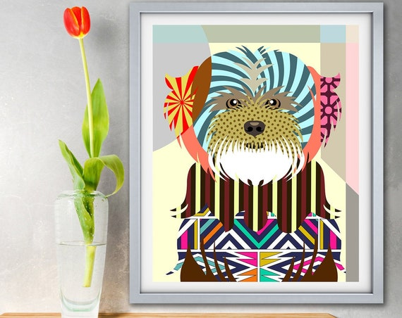 Lhasa Apso Art Print, Dog Breed Pet Portrait