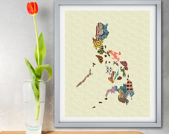 Philippines Map Art Print, Manila Home Decor Painting