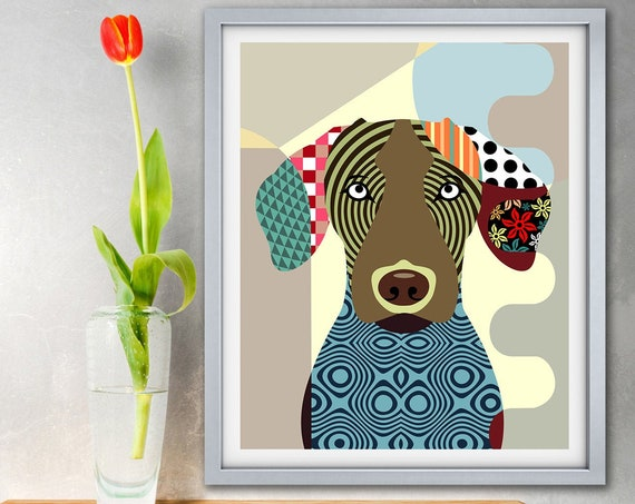 Vizsla Art Print, Hungarian Dog  Pet Portrait