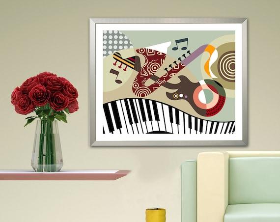 Music Art Piano Guitar Abstract Saxophone Wall  Decor
