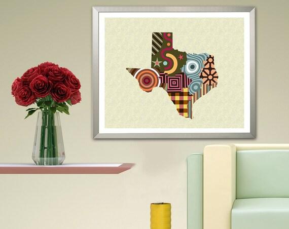 Texas Map Art Print, USA State Wall Decor Painting