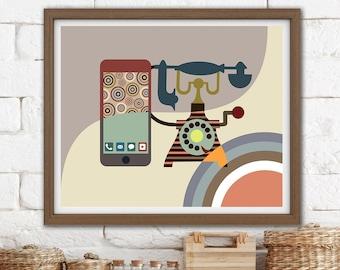 Vintage Telephone Art, Retro Office Minimalist poster