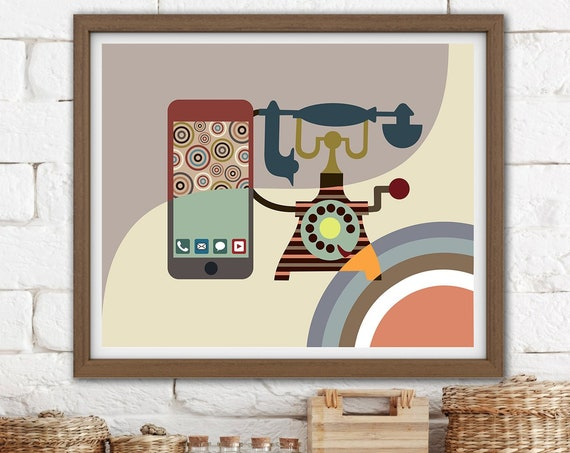 Vintage Telephone Art, Retro Office Minimalist poster