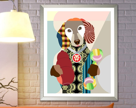 Dachshund Art, Colorful Dog Poster, Pet Portrait