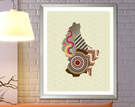 Luxembourg Art Print, Europe Country Map Decor