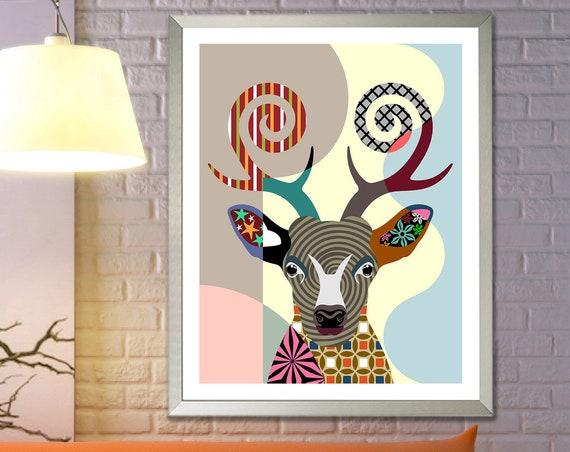 Deer Artwork Poster, Farm Animal Portrait Home Decor