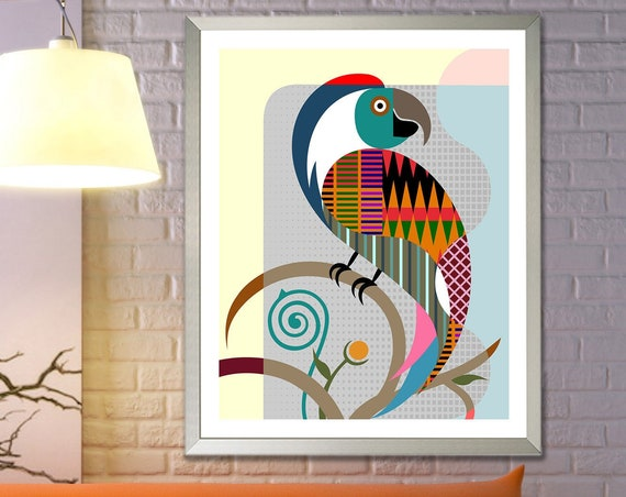 Parrot Print Wall Art, Tropical Bird Poster Decor