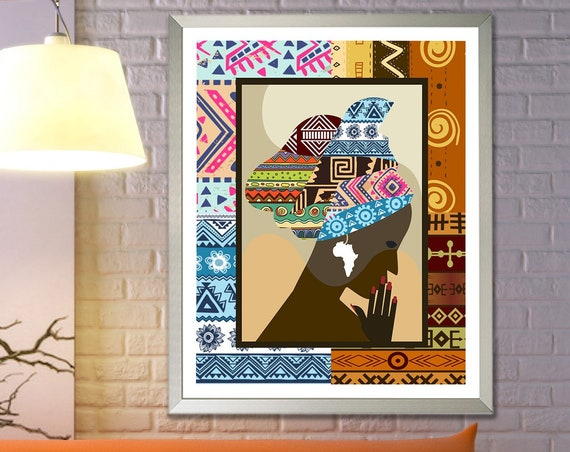 African Woman Print Wall Art Decor, Black Girl Poster