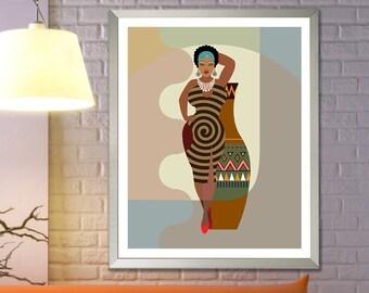 Black Woman Art, Natural Hair Afro Art African American Decor