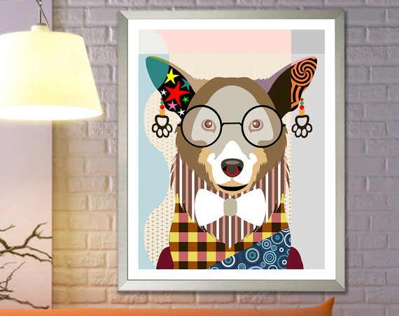 Corgi Art Print, Dog Breed Poster PWC, Pem Poster Decor