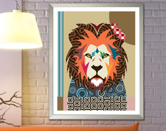Lion Wall Art Print Poster, Jungle Animal Painting