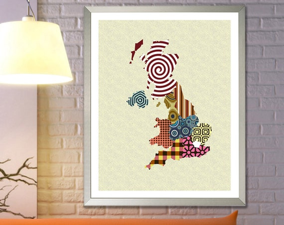 United Kingdom Map England Art, Great Britain Gift