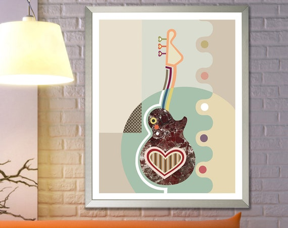Guitar Artwork Music Painting, Heart String Art Abstract Decor