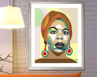 Nina Simone Poster, Singer Legend Soul R B Folk Blues Jazz