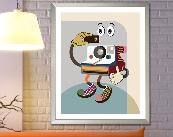 Vintage Polaroid Camera Art Print, Retro Poster