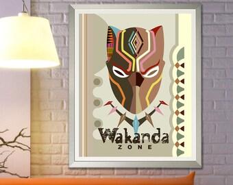 Wakanda Wall Art Décor, African American Print Poster Wall Painting