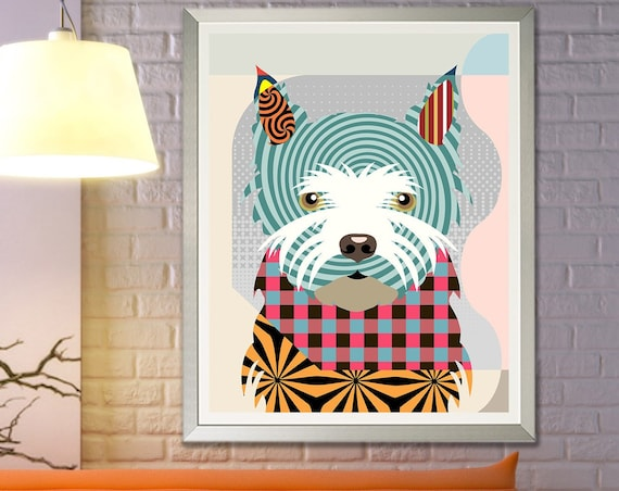 Westie Art Print Painting, West Highland Terrier Gift