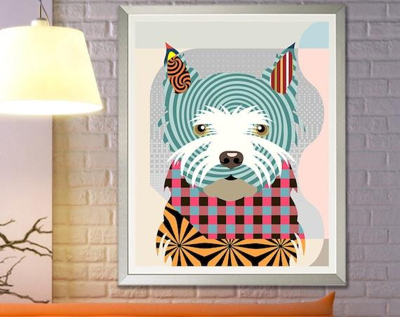 Westie Art Print Painting, West Highland Terrier Gift