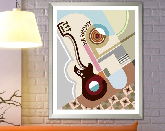 Geometric Wall Art Decor, Bauhaus Poster Abstract Cubist Painting