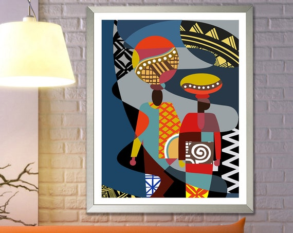 African Art Print, Afrocentric Decor Abstract Painting Ethnic Print