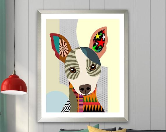 Rat Terrier Art Decor Painting, Dog Pop Art Print