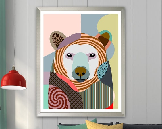 Polar Bear Art Print, Jungle Animal Wildlife Decor