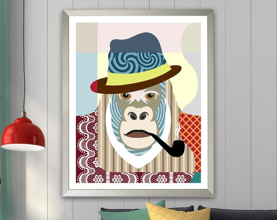 Gorilla Wall Art Painting Decor, Jungle Animal Print Portrait