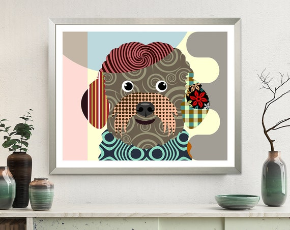 Bichon Frise Art, Dog Pop Art Pet Portrait Animal Lover