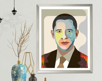Barack Obama U.S President Pop Art Portrait, Living Room Art Decor, Pop Art Poster, Wall Art Decor