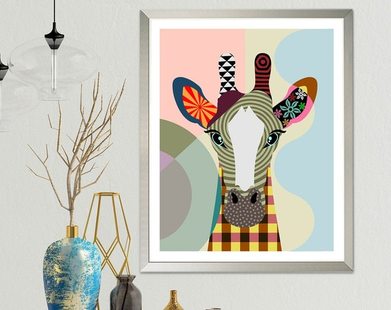 Giraffe Art Print Painting Poster, Colorful Animal Portrait Decor Mammals