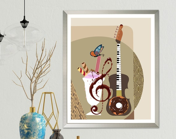 Guitar Art Painting, Funny Music Wall Decor Piano Teacher Gift