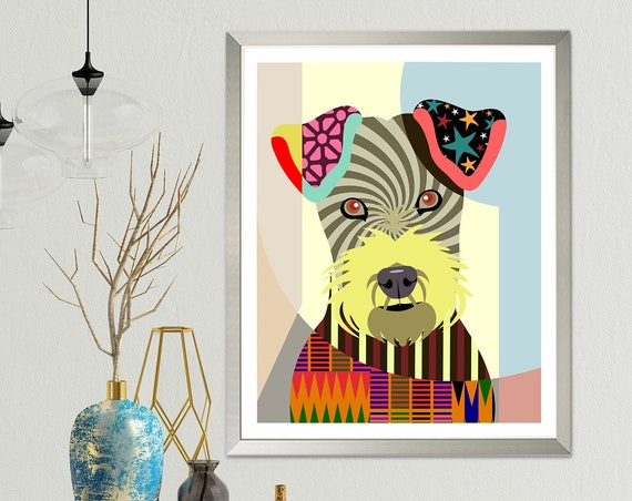 Irish Terrier Print, Dog Puppy Painting